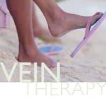 vein therapy overlay text with a women's legs at beach